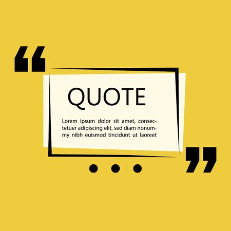 Remark quote text box poster template concept. blank empty frame citation. Quotation paragraph symbol icon. double bracket comma mark
