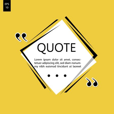 Remark quote text box poster template concept. blank empty frame citation. Quotation paragraph symbol icon. double bracket comma mark. bubble dialogue banner. Ilustrace