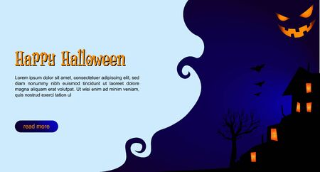 Happy Halloween web party landing page. Spooky greeting cards