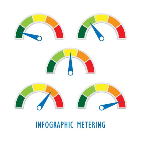 Infographics Set of five metering gauge dashboard for measuring performance, speed, satisfaction, progress, temperature, pressure, level or rating