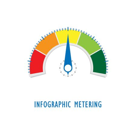 metering gauge dashboard for measuring performance, speed, satisfaction, progress, temperature, pressure, level or rating. Infographics vector illustration. Ilustrace