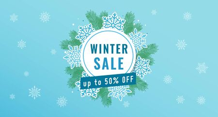 Vector illustration of winter sale banner, template, brochure for business