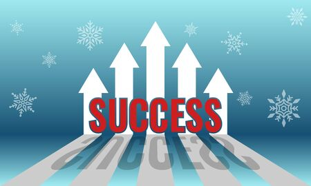 Incremental arrow growth graph for financial and business success concept with a winter background. Ilustrace