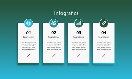 Vector illustration of four infographics concept for business. Business data visualization. timeline infographic icons designed for abstract background template