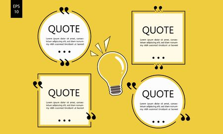 Vector illustration of typography design. Remark quote text box poster template concept. blank empty frame citation. Quotation paragraph symbol icon. double bracket comma mark. bubble dialogue banner. Reklamní fotografie - 136881293