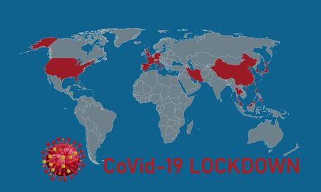 global Covid-19 Lockdown. Corona virus pandemic attack. Ilustrace