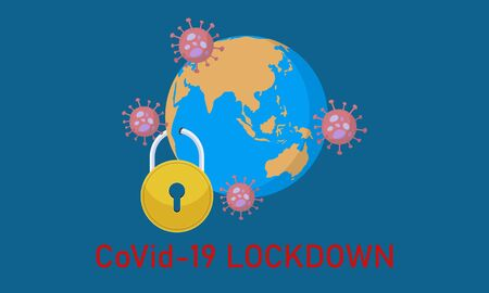 Covid19 Lockdown. Earth, virus and padlock. Pandemic Corona virus attack.