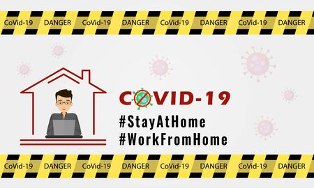 concept of staying at home during Covid-19 pandemic. Ilustrace