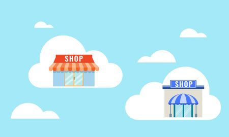 Vector illustration of online business concept. Online store on the cloud. Cyber world for new business.