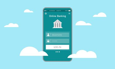 Illustration of secure online banking on smart phone. Ubiquitous banking services on the cloud. Digital transformation on financial industry.