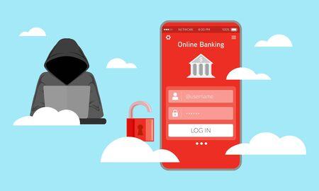 Illustration of vulnerable online banking systems. Unsecured application on smart phone. Business risk on digital transformation. Ilustrace