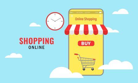 Vector illustration of online shopping. Cloud platform. Mobile Application Concept Marketing and Digital marketing. Ilustrace