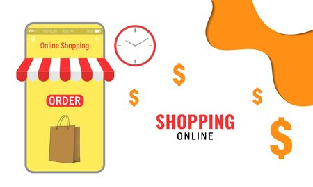 Vector illustration of online shopping. Mobile Application Concept Marketing and Digital marketing. Ubiquitous shopping is a new normal.