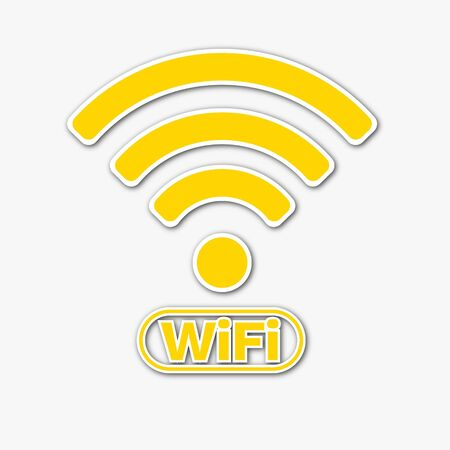 Wifi symbol in papercut style isolated in white background