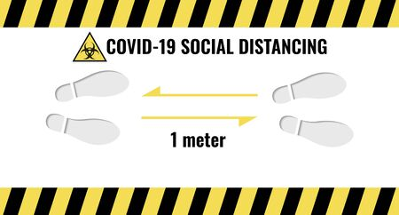 Social Distance 1 meter for prevention of spreading the infection in Covid-19 Outbreak. Vector illustration of 2 people icon with 1 meter distance concept and stop spreading coronavirus pandemic