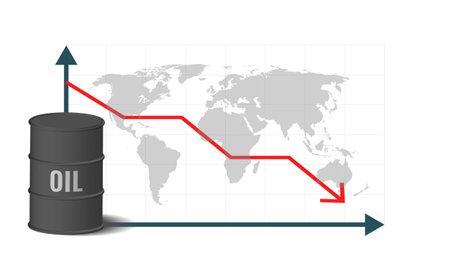 Crude oil price concept. Profit and loss. World economic crisis. Crude oil barrel.
