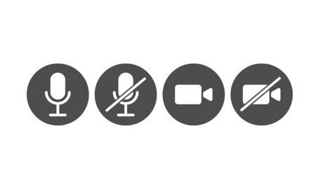 Illustration des Mikrofon- und Videosymbols zum Stummschalten, Stummschalten, Ein- und Ausschalten. Symbol für die Kommunikation mobiler Apps und Webdesign-Schaltfläche. Strichzeichnungen