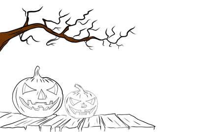 vector illustration of a hand drawn halloween concept. Spooky pumpkin on a wooden platform.
