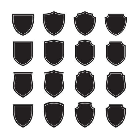 collection of symmetrical shield design. Vector illustration.