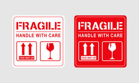 Vector illustration of Fragile, Handle with Care or Package Label stickers set. Red and white colour set. Banner format.