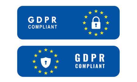 Vector illustration of General Data Protection Regulation (GDPR) Compliant. Cybersecurity governance concept ..