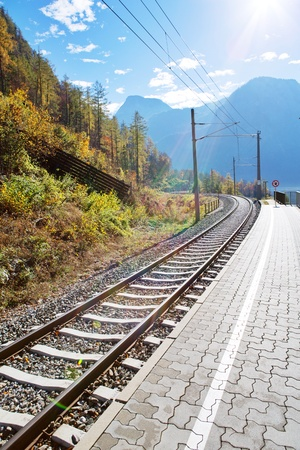 Railway with breathtaking scenery Stock Photo