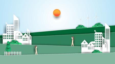 Eco city concept,landscape paper art design. 向量圖像