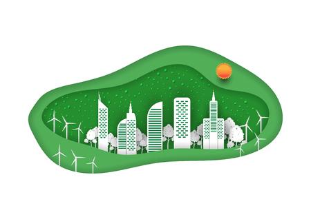 White city in paper art design, Eco city concept design.