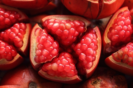 Pieces of pomegranate and seeds   In Thai, we call this kind of fruit as  Stock Photo