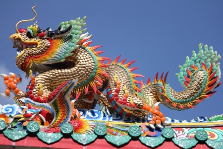dragon statue is commonly found in Chinese temple photo