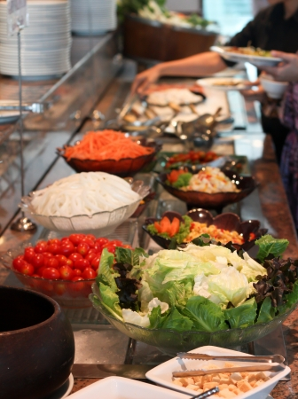 line of salad  buffet