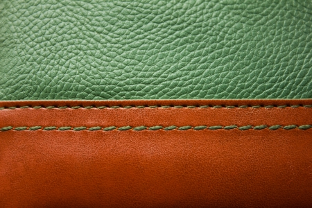 leather stitch: brown and dark green leather texture with green stitch