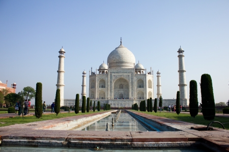 Taj Mahal in India, fountains stop running for cleaning on April 15, 2012 photo