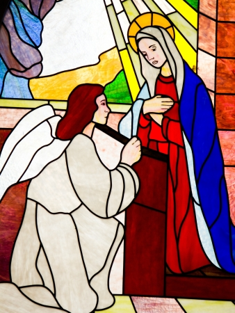 virgen maria: vidrieras de iglesia sapa