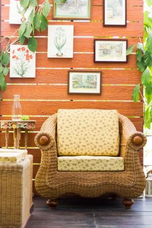 cozy rattan armchair outdoor