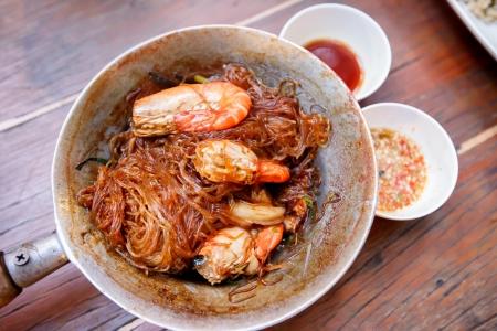 cellophane: shrimp with Cellophane noodles Stock Photo