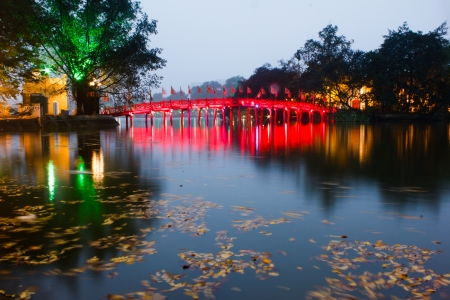 Red Bridge in Hoan Kiem Lake at Night, Ha Noi, Vietnam Stock Photo