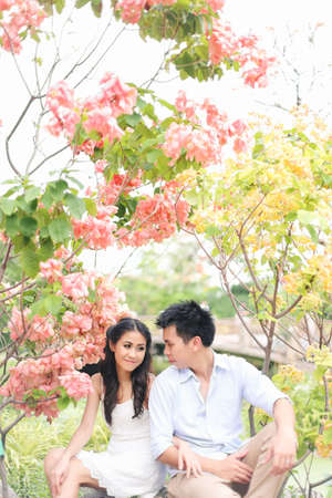 yong asian couple in a romantic atmosphere photo