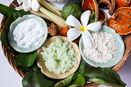spa ingredients with herbs photo