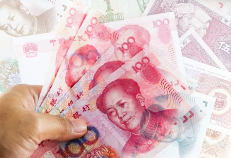 subornation: Set of chinese currency money yuan renminbi  Close-up