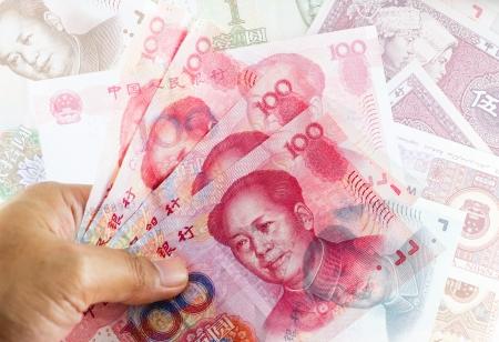 Set of chinese currency money yuan renminbi  Close-up