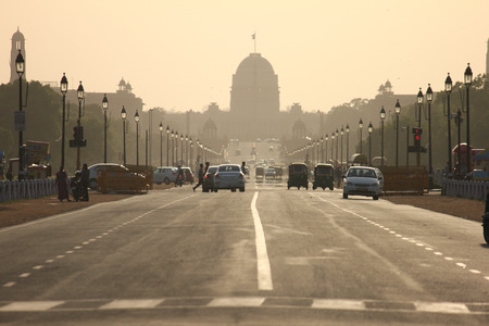india gate: DELHI, INDIA - April 21: Various kind of vehicles and traffic on Rajpath boulevard to India gate on April 21, 2012, in Delhi, India. Editorial