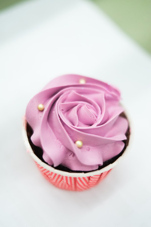 sweet pastel cupcakes with flower on top-shallow depth of field photo