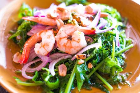 Thai fusion food,vegetable fern and seafood salad -Diplazium esculentum photo
