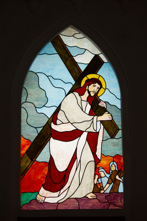 February 15, 2013-Stained glass window in the Cathedral of Sapa, Vietnam