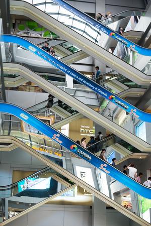 BANGKOK - JAN 4: Merchandises and unidentified shoppers Inside  MBK shopping  Center on Jan 4, 2014 in Bangkok, Thailand.