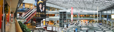 light duty: HOKKAIDO, JAPAN - May 7, 2015 : Panorama of New Chitose Airport, the largest airport in Hokkaido,  serving the Sapporo metropolitan area.