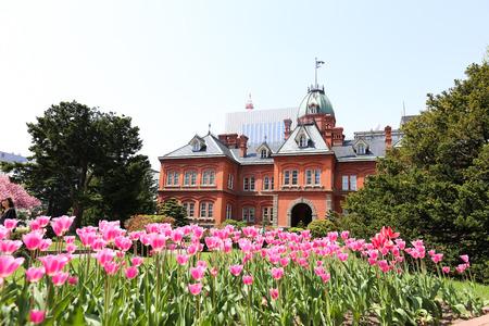 oficina antigua: Oficina ex gobierno de Hokkaido hecha de ladrillos rojos y su jard�n con Sakura o flor de cerezo en flor