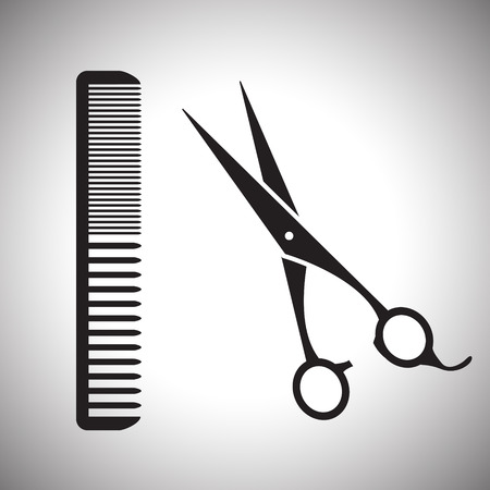 black sign of man hair salon with scissors and comb Illustration