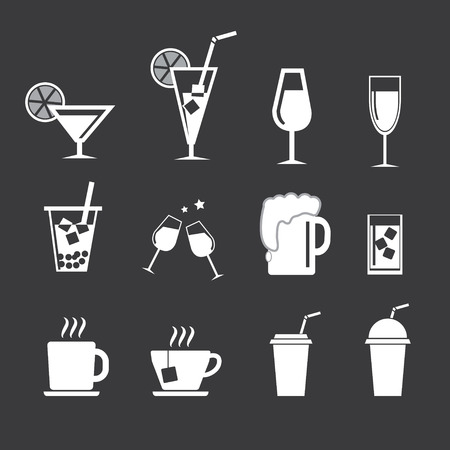 drinks  icons set Vector